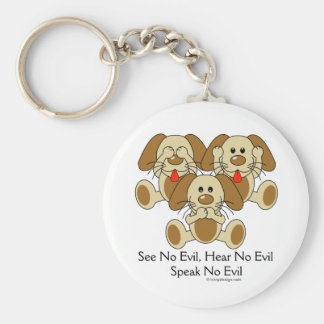 See No Evil Puppies Keychain