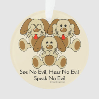 See No Evil Puppies Ornament