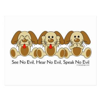 See No Evil Puppies Post Card