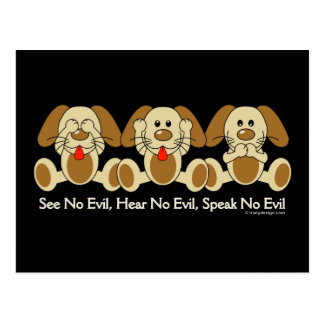 See No Evil Puppies Postcard