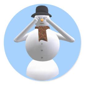 See No Evil Snowman Christmas Gift Wrap Sticker sticker