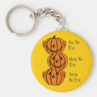 See No, Hear No, Speak No Evil Pumpkins Key Chain
