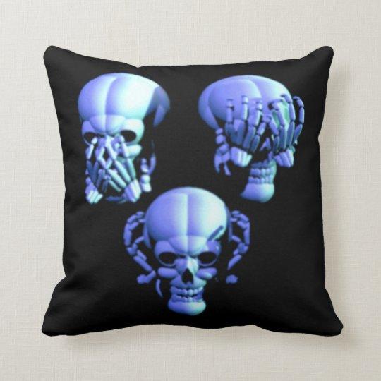 See No Hear No Speak No Evil Skulls Pillow