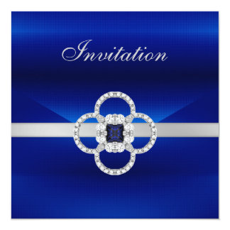 See Revised Below All Occasions Blue Silver Jewel Invitation