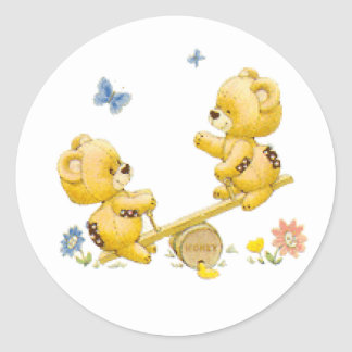 See Saw Bears Classic Round Sticker