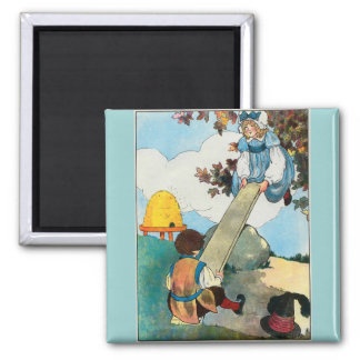 See-saw, Margery Daw, 2 Inch Square Magnet
