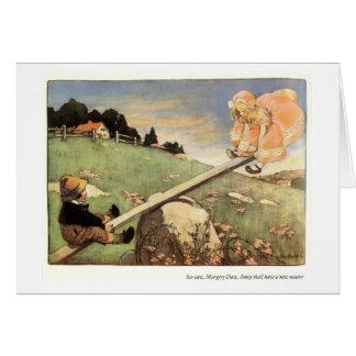 See Saw, Margery Daw Nursery Rhyme - Card