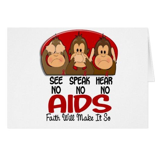 See Speak Hear No AIDS 1 Greeting Card