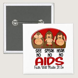 See Speak Hear No AIDS 1 Pinback Button