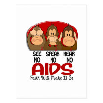 See Speak Hear No AIDS 1 Postcard