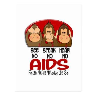 See Speak Hear No AIDS 1 Postcard