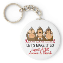 See Speak Hear No AIDS 2 Keychain