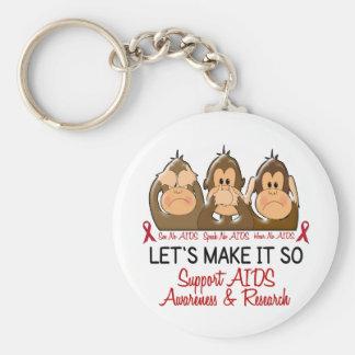 See Speak Hear No AIDS 2 Keychain