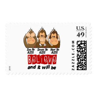 See Speak Hear No AIDS 3 Stamp
