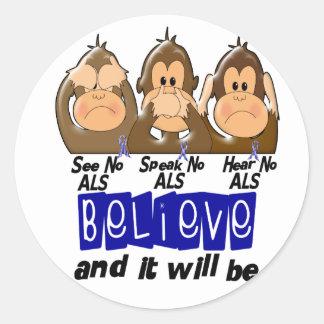 See Speak Hear No ALS 3 Classic Round Sticker