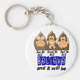See Speak Hear No ALS 3 Basic Round Button Keychain