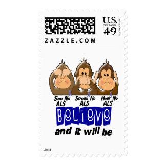 See Speak Hear No ALS 3 Postage Stamp