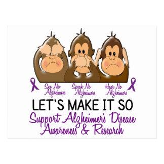 See Speak Hear No Alzheimers Disease 2 Postcard