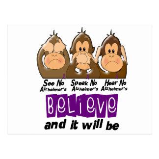 See Speak Hear No Alzheimers Disease 3 Postcard