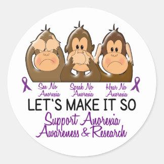 See Speak Hear No Anorexia 2 Classic Round Sticker