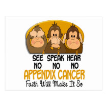 See Speak Hear No Appendix Cancer 1 Postcard
