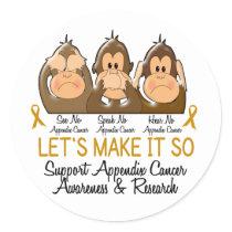 See Speak Hear No Appendix Cancer 2 Classic Round Sticker