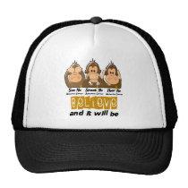 See Speak Hear No Appendix Cancer 3 Trucker Hat