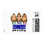 See Speak Hear No Autism 3 Postage Stamps