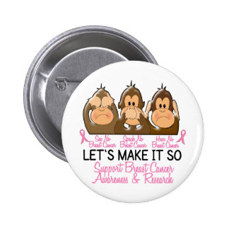 See Speak Hear No Breast Cancer 2 Buttons