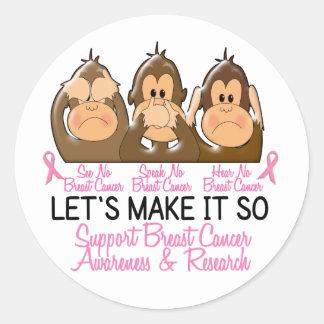 See Speak Hear No Breast Cancer 2 Sticker