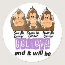 See Speak Hear No Cancer 1 Classic Round Sticker