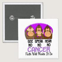 See Speak Hear No Cancer 1 Pinback Button