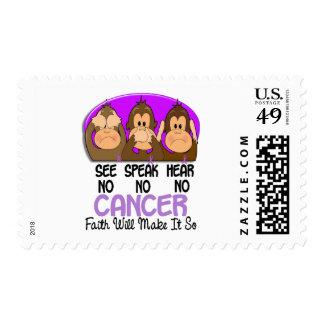 See Speak Hear No Cancer 1 Postage