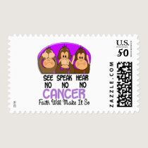 See Speak Hear No Cancer 1 Postage