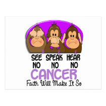 See Speak Hear No Cancer 1 Postcard