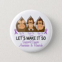 See Speak Hear No Cancer 2 Pinback Button
