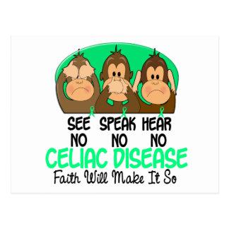 See Speak Hear No Celiac Disease 1 Postcard