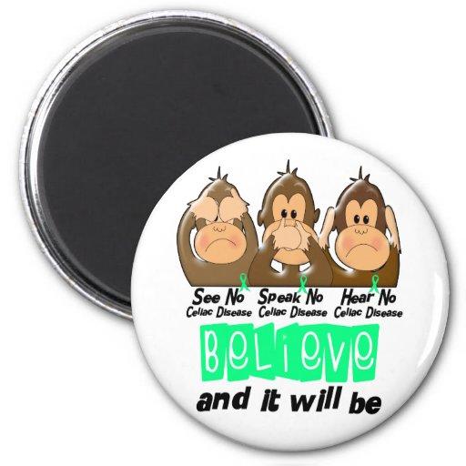 See Speak Hear No Celiac Disease 3 2 Inch Round Magnet