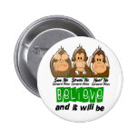See Speak Hear No Cerebral Palsy 3 Pinback Buttons