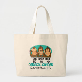 See Speak Hear No Cervical Cancer 1 Large Tote Bag