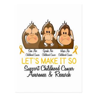 See Speak Hear No Childhood Cancer 2 Postcard
