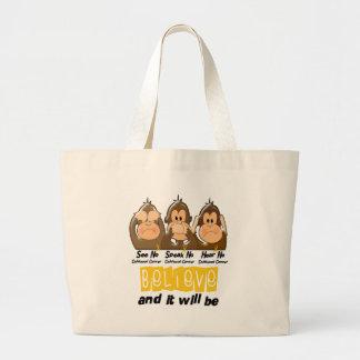 See Speak Hear No Childhood Cancer 3 Jumbo Tote Bag