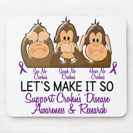 See Speak Hear No Crohns Disease 2 Mouse Pad