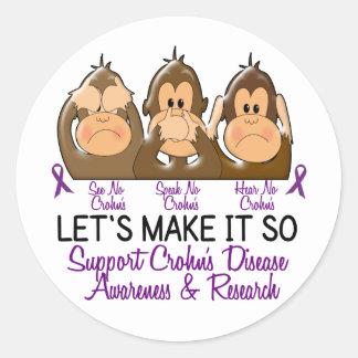 See Speak Hear No Crohns Disease 2 Stickers