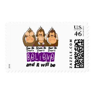 See Speak Hear No Crohns Disease 3 Postage Stamp