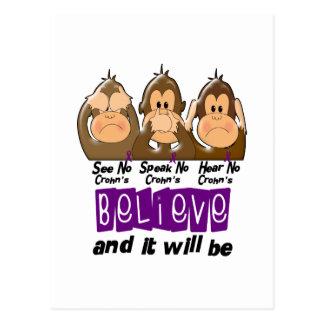 See Speak Hear No Crohns Disease 3 Postcard