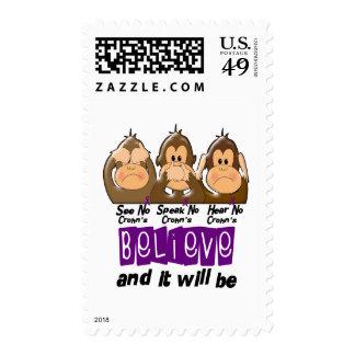 See Speak Hear No Crohns Disease 3 Stamps