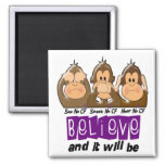 See Speak Hear No Cystic Fibrosis 3 2 Inch Square Magnet
