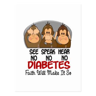 See Speak Hear No Diabetes 3 Postcard