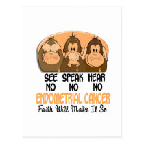 See Speak Hear No Endometrial Cancer 1 Postcard